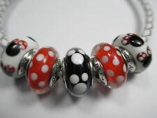 5 Pandora Silver 925 Ale Disney Minnie Mickey Murano Beads Charms 791634 791633