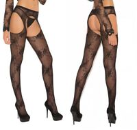 Sexy Black Lace Suspender Tights, Floral Stockings W/Attached Suspenders, Open