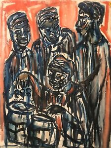 🔥 RARE Antique Mid Century Black African American Modern Oil Painting - Lanton