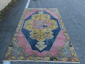 Oushak Oriental Vintage Carpet Anatolian Handmade Turkish Wool Area Rug 5x9 ft