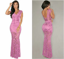 New Ladies Elegant Nude Illusion Lace Maxi Evening Dress Orchid Party Size 8-10