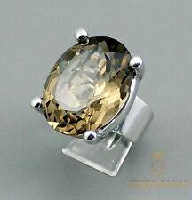 Rauchquarz Ring 92er Silber-Ring mit Rauchquarz für Damen in Gr. 58