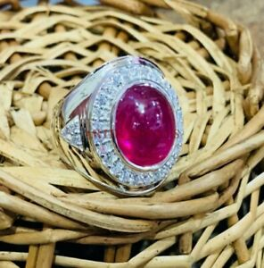 Natural Ruby Gemstone with 925 Sterling Silver Ring for Men's #3482