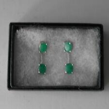 Beautiful Emerald Gems & Cz. 925 Sterling Silver Earrings 2.9 Gr.2.5 Cm. Long