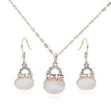 18K GOLD PLATED & GENUINE AUSTRIAN CRYSTAL/CAT-EYE LOVE NECKLACE & EARRING SET