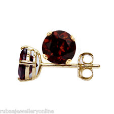 6mm ROUND FACETED DEEP RED GENUINE GARNET 9k / 9ct YELLOW GOLD STUD EARRING