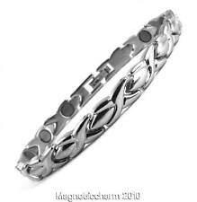 NEW LADIES PRETTY SILVER COLOUR BIO MAGNETIC HEALING BRACELET FOR ARTHRITIS