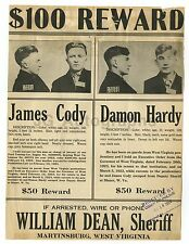 "Wanted Notice ""$100 Reward"" - James Cody, Damon Hardy, West Virginia, 1924"