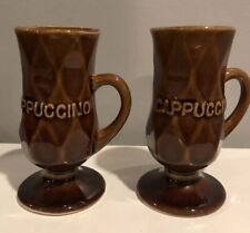 Brown Pedestal Cappuccino Cups with Handle. Beautiful Vintage Pieces.