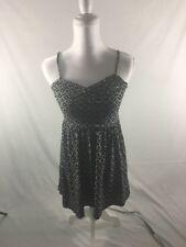 Ann Taylor Loft XS Petite Black Sun Dress White Polka Dots