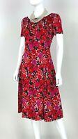 St. John New 8 US 44 IT M Red Pink Floral Stretch Metallic Sheath Dress Runway
