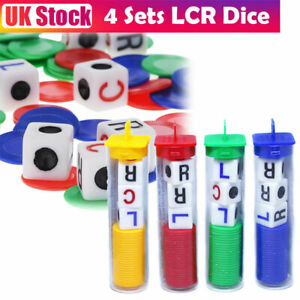 4 Set LCR Dice Left Center Right Family Party Game Coloured 15mm Dices Tube