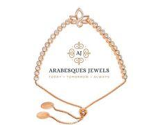ARABESQUES JEWELS CRYSTAL LOTUS ROSE GOLD/STERLING SILVER 925 TENNIS BRACELET