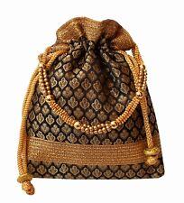 Rich Brocade Potli Bag Indian Ethnic Drawstring Handbag Marriage Return Gift BK8