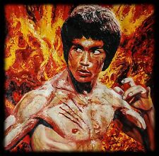 Bruce Lee, in Palette Knife oil Painting, Martial Art, Sports, Movies, Textured