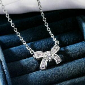 1 Ct Baguette VVS1 Diamond Bow Women Pendant Necklace 14K White Gold Finish