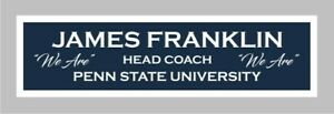 James Franklin color nameplate for signed autographed football photo jersey