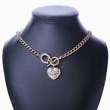 Gold Tone Chain Heart Love Dangle Choker Chunky Rhinestone Toggle Clasp Necklace