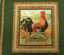 Country Fresh Eggs Rooster Panel Fabric Pillow Panel