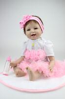 "Reborn Baby Dolls Realistic Newborn Lifelike Silicone Vinyl Girl 22"" Handmade UK"