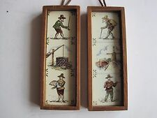 PAIR FRAMED SMALL VINTAGE TILES