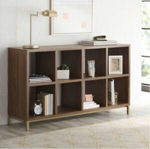 Better Homes & Gardens 8 Cube Storage Organizer with Metal Base, Vintage Walnut