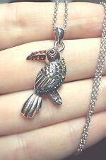 "green blue yellow orange crystal Toucan bird 925 silver plt pendant 18"" necklace"