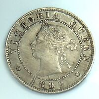 1890 H Jamaica One 1 Half Penny Queen Victoria Circulated Coin H352