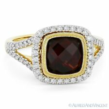 14k Yellow & White Gold Right-Hand Ring 3.39 ct Citrine Gem & Diamond Pave Halo