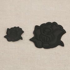 10pcs Black Rose Flowers Embroidered Cloth Iron On Patches Sewing Appliques