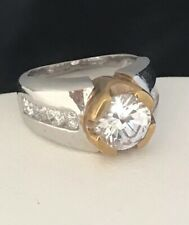 HSN Cocktail Ring Cubic Zirconia Silver Gold Tone Accents Engagement Sz 5 2T