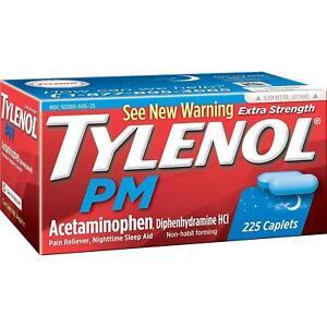 Tylenol PM Extra Strength 225 ct Caplets ,Pain reliever sleep aid, Exp 02/2023