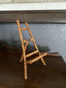 """Vintage Real Bamboo Easel Photo Art Picture Stand 8"""" Tall Made In Japan"""