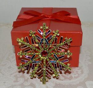 "NIB $160 HEIDI DAUS ""Ice Crystal"" Lg. Multi Color Brooch Pin SWAROVSKI Crystals"