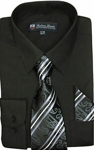 Men's Cotton Blend Dress Shirt with Tie and Handkerchief 22 different colors 21B