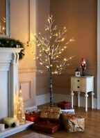 6ft Snowy Effect Warm White Twig Tree Pre-lit 120 LED Christmas Indoor / Outdoor