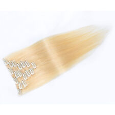 """Full Head Women Clip In Real Soft Human Hair Extensions Straight Hair 15""""-36"""""""
