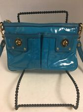 Marc by Marc Jacobs Glossy Coated Canvas teal blue front pocket crossbody