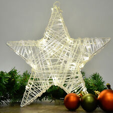 Metal / Acrylic Pre-Lit LED Christmas Star with 30 Warm White Lights & Timer