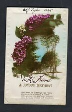 Dated 1925 Birthday Card: Trees & Flowers: To My Friend Happiness