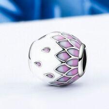 Hot Spring Flower.925 Sterling Silver Pink Enamel Petal European Charm Bead
