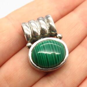 925 Sterling Silver Real Malachite Gemstone Slide Pendant