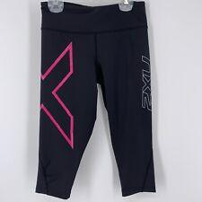 2XU Women's Sz S Black Pink Capri Length Compression Leggings Running