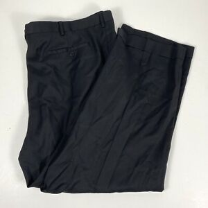 Zanella Mens 46 x 28 Paul Dress Pants Black  100% Wool Pleated Made in Italy