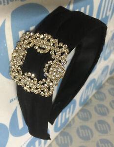 Black & Gold Fashion Crystal CZ Buckle Headband Luxury Hair Accessories UK #