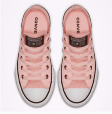New Converse CTAS OX Glitter Leather Sneakers Pink Girls Size 12 13 1 2