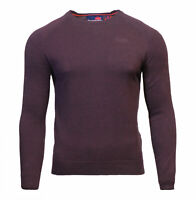Superdry Mens New Orange Label Crew Neck Cotton Jumper Long Sleeve Burgundy