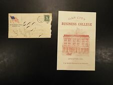 Vintage Gas City Business College pamphlet with envelope