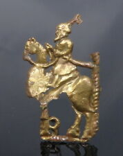 RARE MEDEIVAL BRASS APPLIQUE OF A WISE MAN ON A CAMEL (L402)