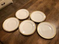 """Set of 5 Vintage Royal Bayreuth Bavaria 8.5"""" Salad Plates Gold Border Excellent"""